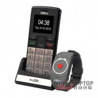Maxcom MM715BB idősgondozó mobiltelefon SOS karpereccel ezüst FÜGGETLEN